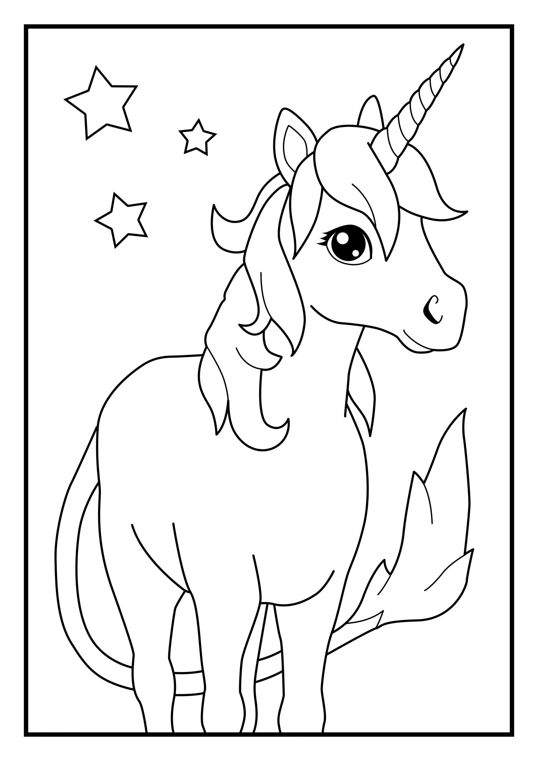 Unicorn coloring picture page