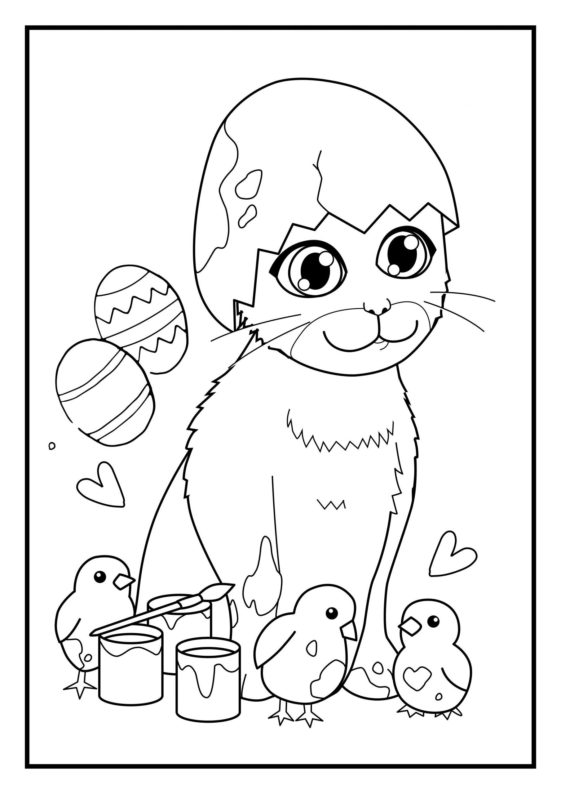 Ausmalbild Katze Ostern BIanca Uptasia