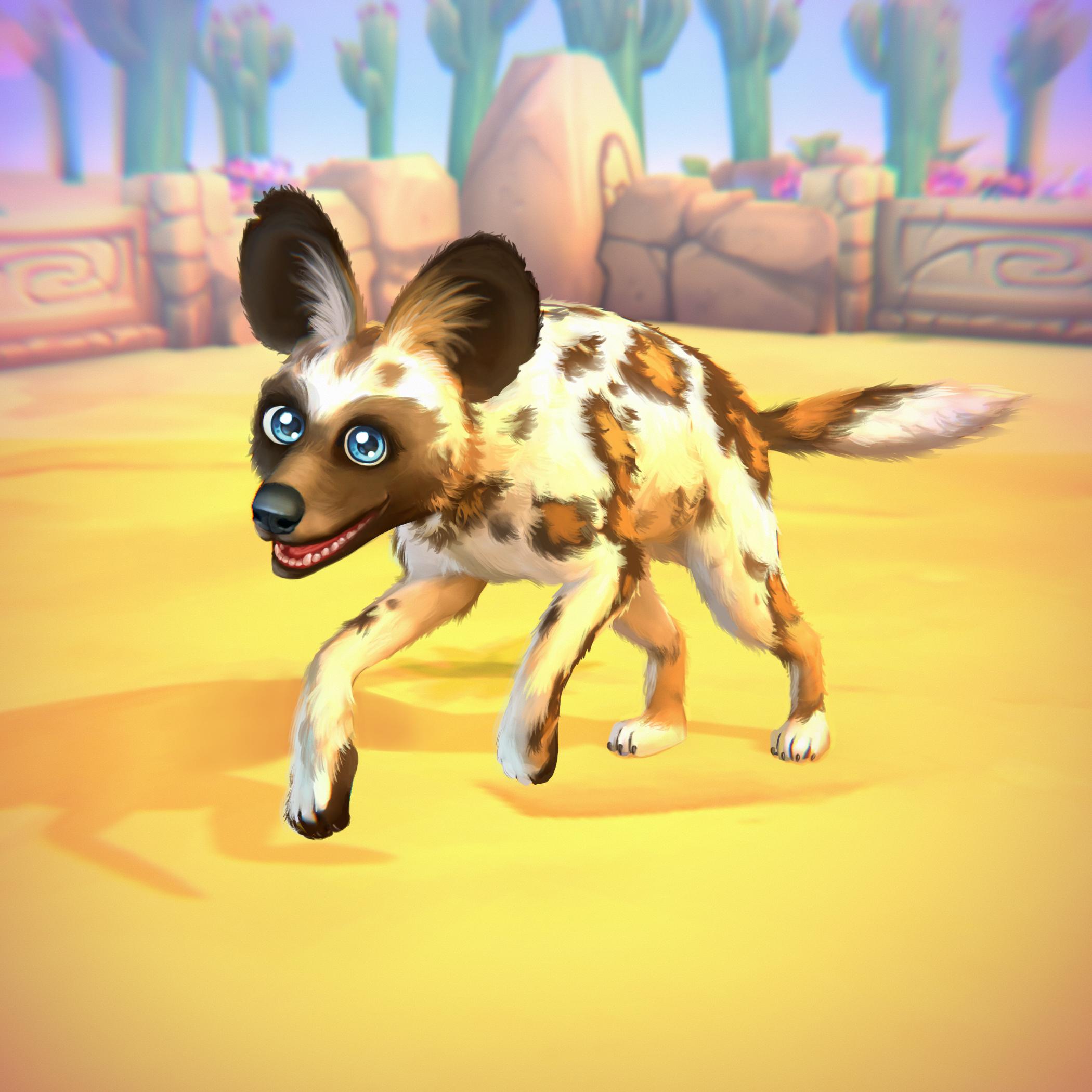 Afrikanischer Wildhund (weiß)